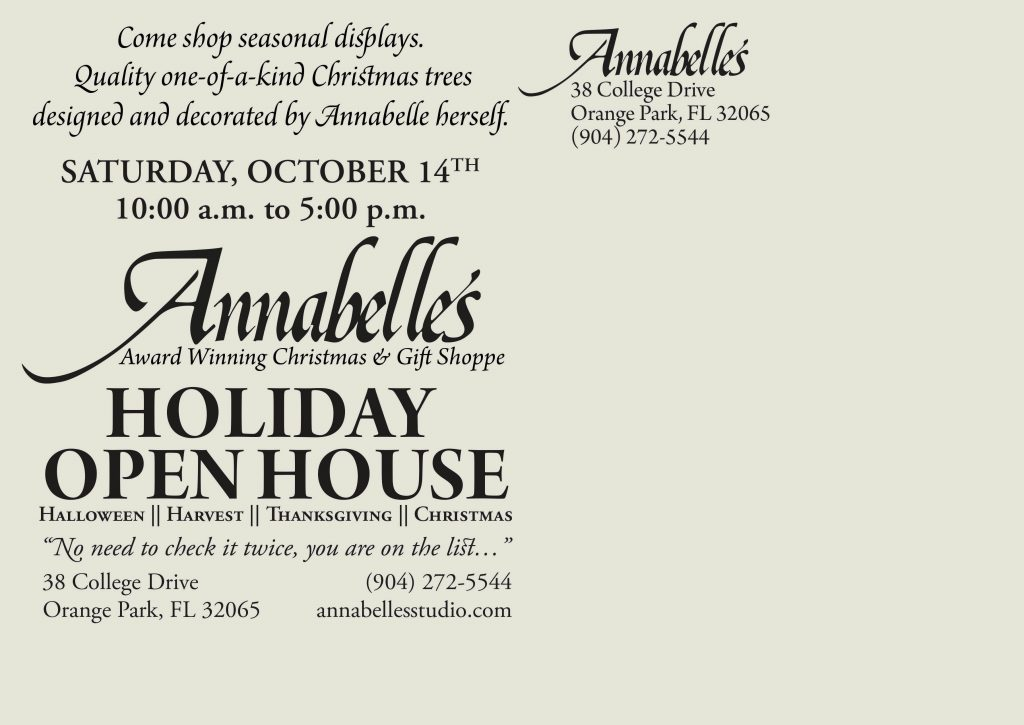 Annabelle's Open House Invitation Postcard Back