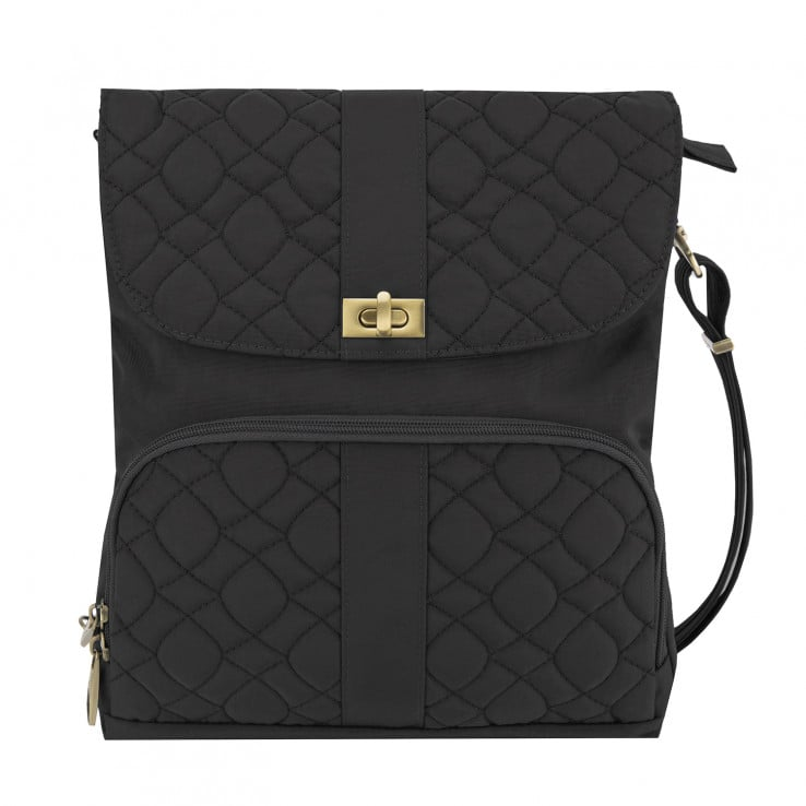 Anti Theft Signature Quilted Messenger Bag Black