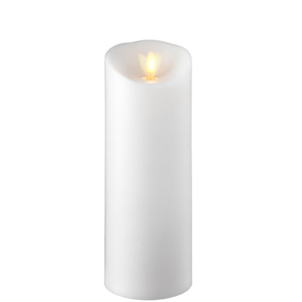 """Liown Moving Flame 3"""" x 8"""" Pillar Candle White"""