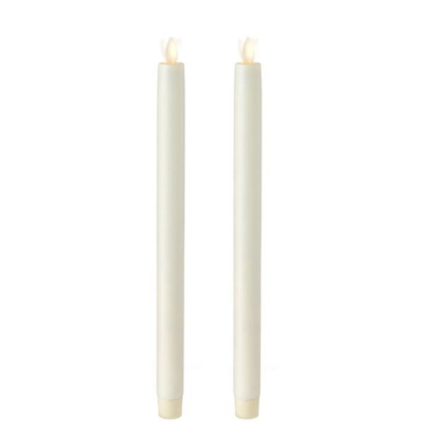 "Liown Moving Flame 12"" Taper Candle Ivory Set of 2"