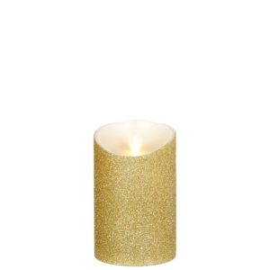 "Liown Moving Flame 3.5"" x 5"" Pillar Candle Gold"