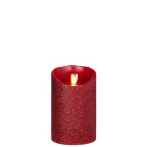 "Liown Moving Flame 3.5"" x 5"" Pillar Candle Red"