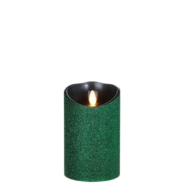 "Liown Moving Flame 3.5"" x 5"" Pillar Candle Green"