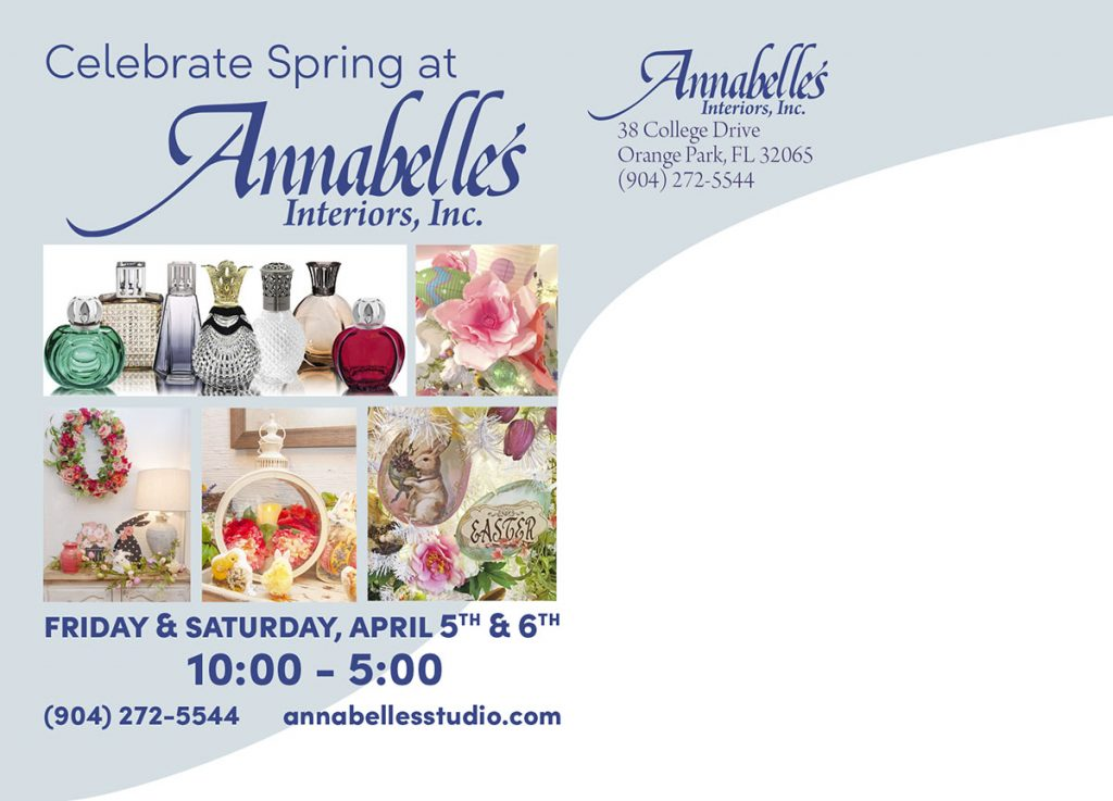 Back of Annabelle's Spring Open House postcard