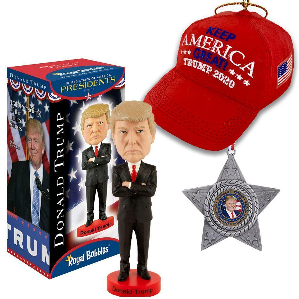 Trump Bobbleheads, and Trump themed Christmas ornamnets